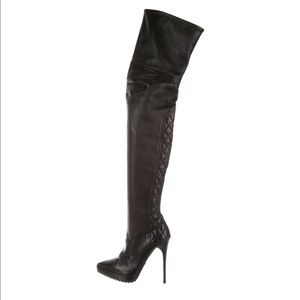 Burberry Prorsum Black Leather thigh high boots